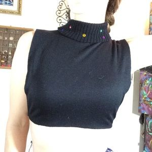 Vintage Tops - 80's Vintage Cropped Sweater Bedazzled Turtle Neck